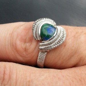 Chrysocolla Sterling & FIne Silver Wire Wrapped Ring    Size: 8