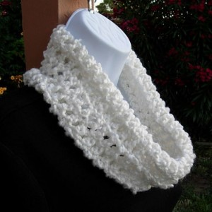 SUMMER COWL SCARF Solid Pure White, Small Short Infinity Loop, Crochet Knit, Soft Handmade Lightweight Neck Warmer..Ready to Ship in 2 Days