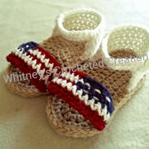 crochet 4th of july sandals, american flag, usa, crocheted, handmade, independence day, holiday, photo prop, baby gift, new baby