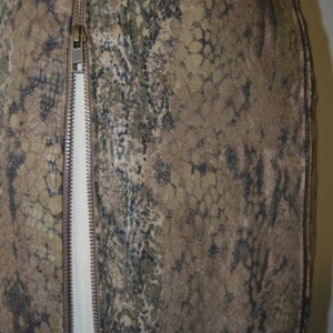 snake print paneled pencil skirt with 2 zippers