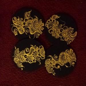 Henna Art Designed Coasters - Round/Square (4)