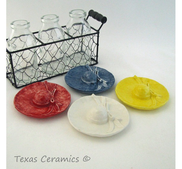 Garden Sun Hat Tea Bag Holder Caddy Desk Catch All Gift Your Choice, Denim, Red , Yellow or White