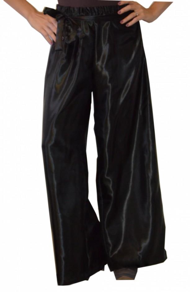 Satin wide leg pants with elastic waist band and sash
