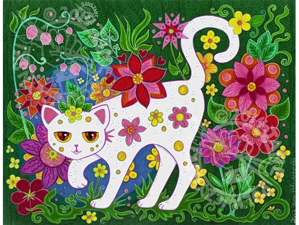 """18"""" x 24"""" Original Art Poster Print """"Cat"""" by Jane Poliwczynski"""