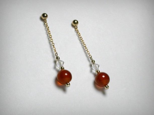 Carnelian  Earrings & Swarovski Crystal Earrings, 14K Yellow Gold Filled, Dangle Earring, Red Earring, Long Earring, Post Earring, Carnelian