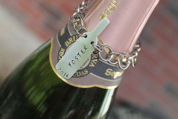 Personalized Wine Bottle Necklace Ornament Hand Stamped