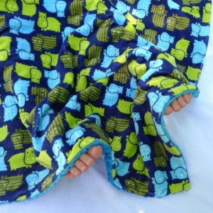 Minky Baby Blanket,  Hippo Baby Blanket, Boy Minky Baby Blanket, Blue and Green Blanket