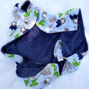 Minky Baby Blanket,  Safari Zoo Baby Boy Blanket, Elephant Lion Giraffe Monkey Minky Baby Blanket