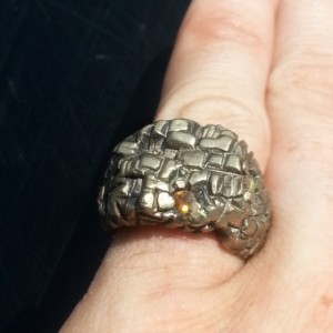 Fabricated Metal Ring with Citrine and Peridot facets Size 6