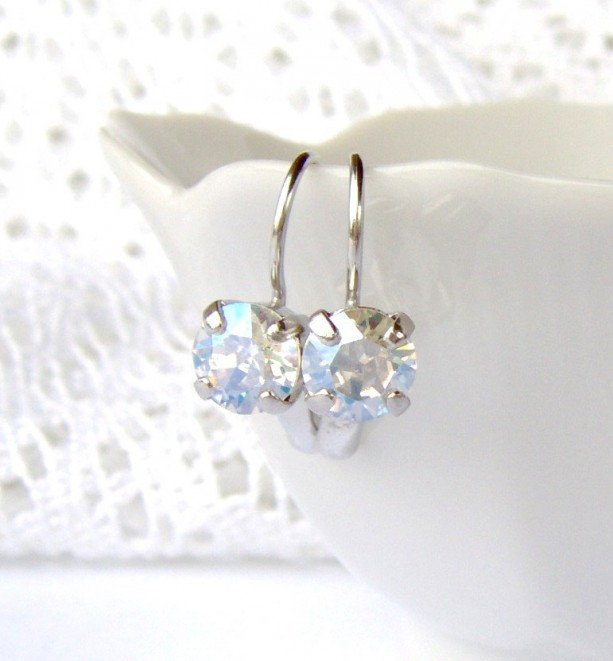 Crystal Moonlight rhinestone earrings / leverback