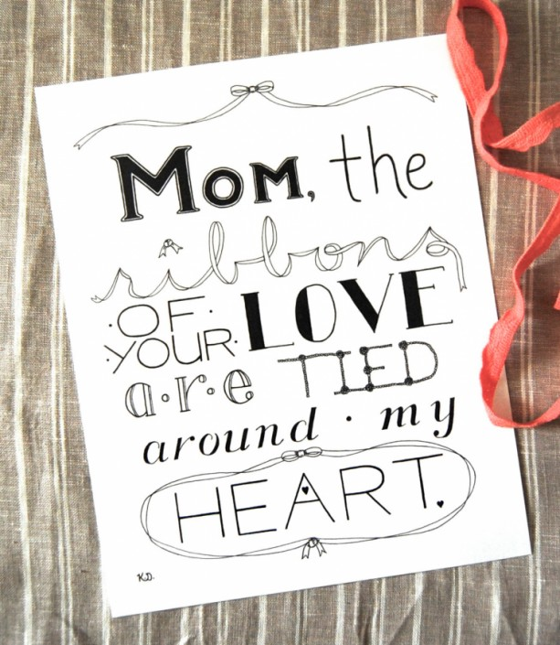 Ribbons // Mom Typography Print // Quote For Mom // Love For Mom // Mother's Day Artwork