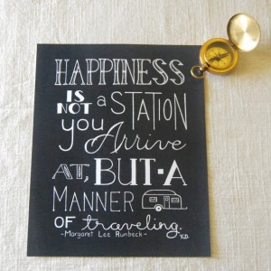 Happiness // Calligraphy Print // Traveling Quote Art // Camper Art // How To Travel Typography