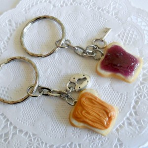 Peanut Butter and Jelly Keychain Set, With Lock & Key, Best Friend's Keychains, Cute :D