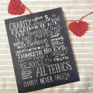 Charity // Bible Verse Print // 1 Corinthians 13 Art // Love Is Patient Word Art // Love Typography