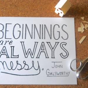 Messy // Calligraphy Print // Quote About Beginnings // Nursery Artwork // Fresh Start Typography Quote