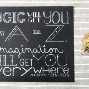Logic // Typography Print // Imagination Quote // Art About Imagination // Logic Quote // Albert Einstein Quote