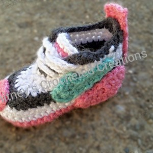 crochet Nike inspired tennis shoes , handmade , crocheted , swoosh , crocheted , baby , booties , shoes , baby nike , photo prop , sneakers