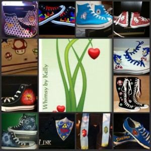 Custom Converse, Zelda, handpainted, sealed, your choice of colors, sizes and styles