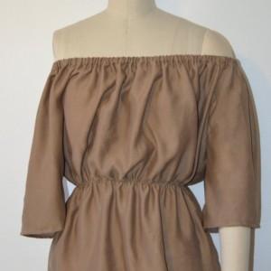 Off shoulder cotton top with elastic waist and neckline