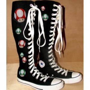 Mario Converse-Knee High! Custom designs and handpainted