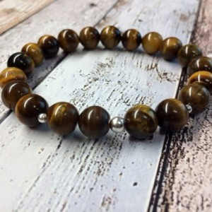 Mens tiger eye sterling silver bracelet, brown metallic chunky, nature inspired, boho, tribal, summer jewellery, gift for him gift for dad