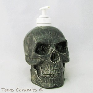 Ceramic Grey Skull Pump Dispenser for Bath Vanity or Kitchen Counters Great Pirate Decor