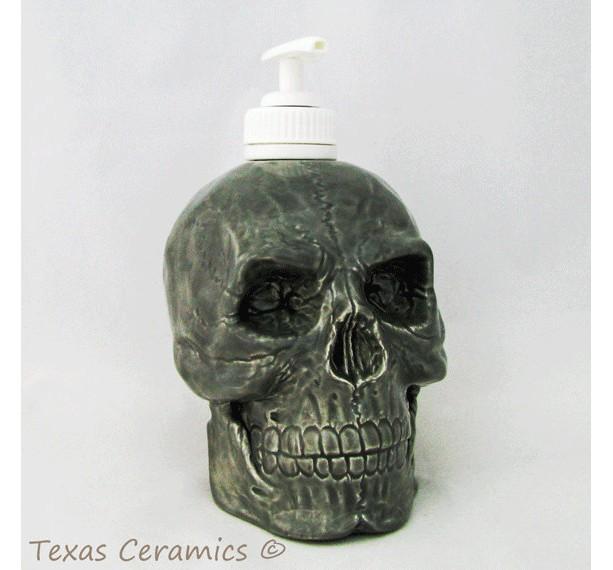 Ceramic Grey Skull Pump Dispenser for Bath Vanity or Kitchen Counters Great Pirate Decor