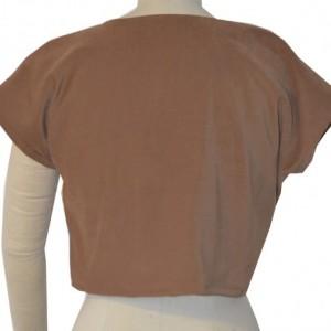 Sleeved stretch moleskin suede crop top