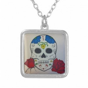 Hand Drawn Sugar skull silver pendant