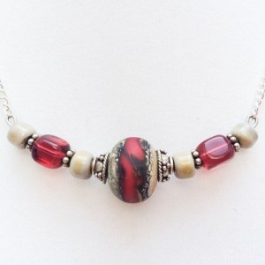 Hot Lava necklace, Red, cream, Neutral, Colorful necklace, beaded, Lampwork, Statement necklace, OOAK, Mars, Volcano, the red planet