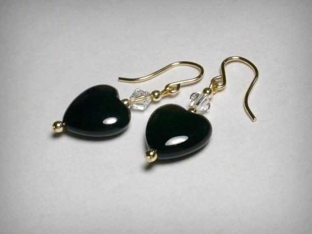 Genuine Black Onyx  Earrings, Swarovski Crystal, 14K Yellow Gold Fillled, Onyx Earring, Black Earring, Dangle Earrings, Black Heart Earrings
