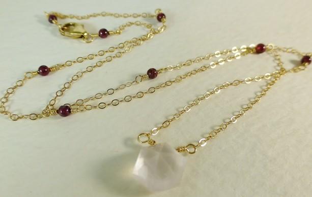 Rose quartz garnet gold necklacepink and gold delicate jewelr