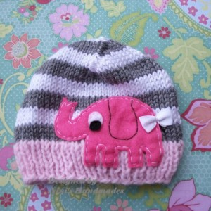 Girls Knit  Baby Hat with Elephant design,  Beanie, Newborn photography,  Baby Shower,  girls hat, gift, hospital outfit