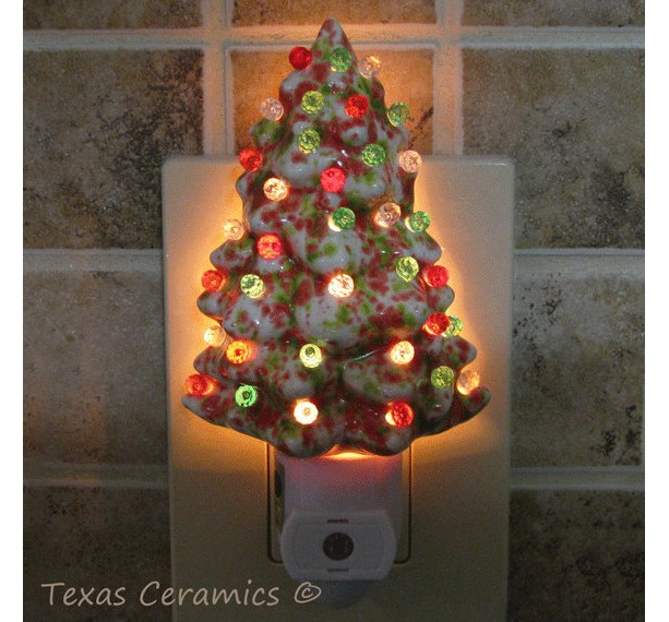 Ceramic Christmas Tree Night In Red Green Amp White With