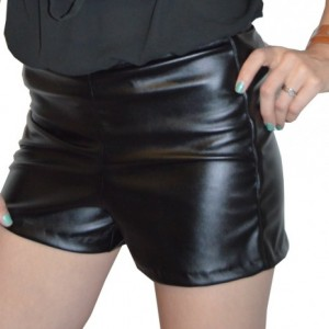 Pleather shorts with invisible zipper at back