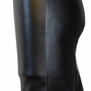 Asymmetrical pleather pencil skirt with exposed zipper