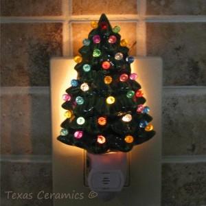 Little Green Ceramic Christmas Tree Night Light With