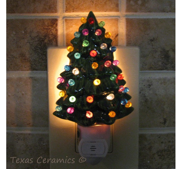little green ceramic christmas tree night light with automatic light sensitive switch - Christmas Tree Night Light
