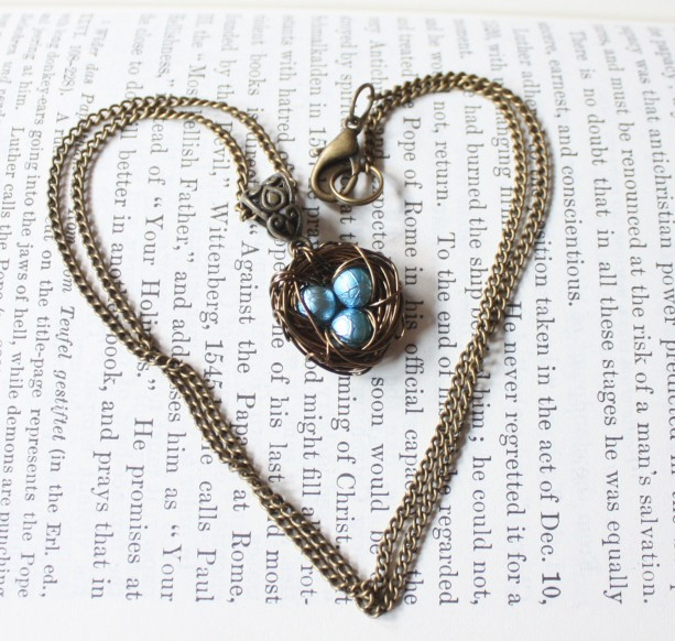 Wire Wrapped Nest Pendant Necklace with Baby Blue Pearls, Mother, New Mom, Nature Inspired Wedding, Bridesmaid Jewelry