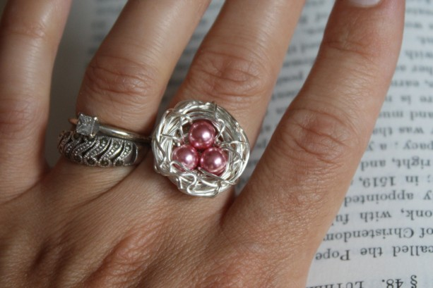 Sterling Silver Wire Wrapped Nest Adjustable Ring in Pink Mother