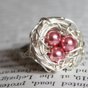 Sterling Silver Wire Wrapped Nest Adjustable Ring in Pink Mother, New Mom, Nature Inspired Wedding, Bridesmaid Jewelry