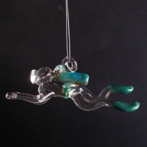 Male or Female Glass Scuba Diver, Hand Blown Ornament, Suncatcher, Aqua Blue