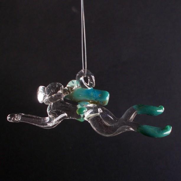 Male or Female Glass Scuba Diver, Hand Blown Ornament, Suncatcher, Aqua Blue