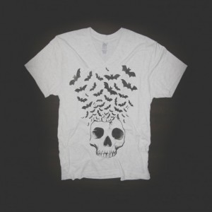 Skull w/ Bats Flying Urban V-Neck T-Shirt in White