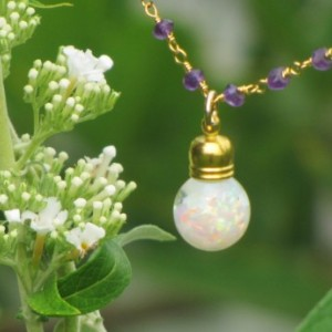Floating Opal Pendant and Amethyst Rondelle Necklace