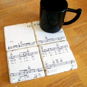 "Beatles ""Let It Be"" Sheet Music Coasters"