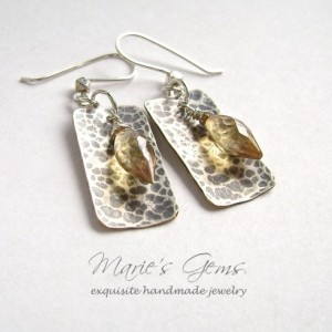 Golden Quartz Earrings, Sterling Silver, Hammered Silver Filled Drops, Oxidized Silver, Quartz Briolettes, Gemstone Jewelry, 830