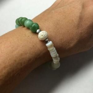 Color block bracelet, Blue green Amazonite Grey Shell Beaded Bracelet, Dreamy Sea Blue Calm Earth Tones Bohemian Beach Cream silver bone