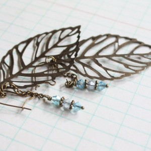 Antique Brass Filigree Leaf Leaves Earrings with Turquoise and Pale Blue Swarovsky Crystals, Rain, Dew Drop, Nature Inspired