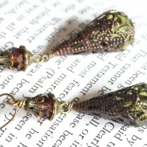 Neo Victorian Filigree Earrings with Amber and Chartreuse Beads Antique Style Old World